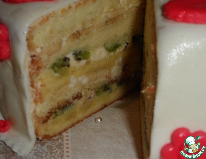 Бисквитный торт с киви и бананом рецепт с фото пошагово и 53