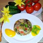 Ризотто с курицей, грибами и овощами