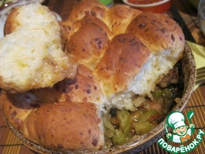 Рецепт Рагу из телятины и овощей под сырными булочками