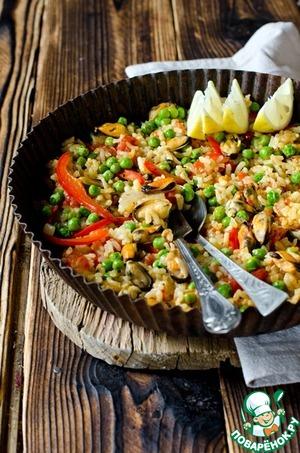 Рецепт Паэлья с мидиями, болгарским перцем и зеленым горошком