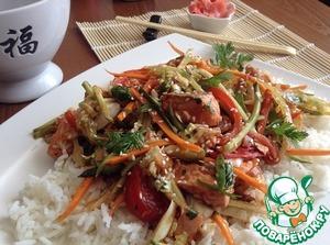 Рецепт Теплый салат с рыбой, овощами и рисом