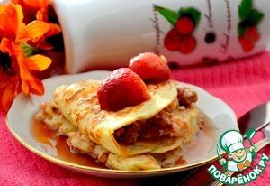 Блинчики с сырно-творожной начинкой и ягодами под кленовым сиропом домашний пошаговый рецепт с фото как готовить