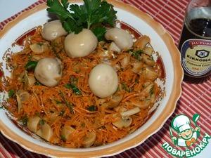 Салат из грибов с морковью и чесноком домашний пошаговый рецепт с фото