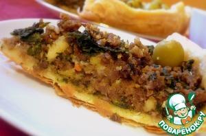 Открытый пирог с мясным фаршем и шпинатом простой рецепт с фото пошагово