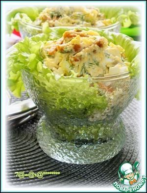 Рецепт: Сырный салат с сухариками