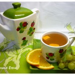 Компот из винограда, апельсина и зеленого чая