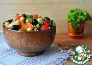 Как приготовить Тёплый салат с нутом и овощами простой рецепт с фото пошагово