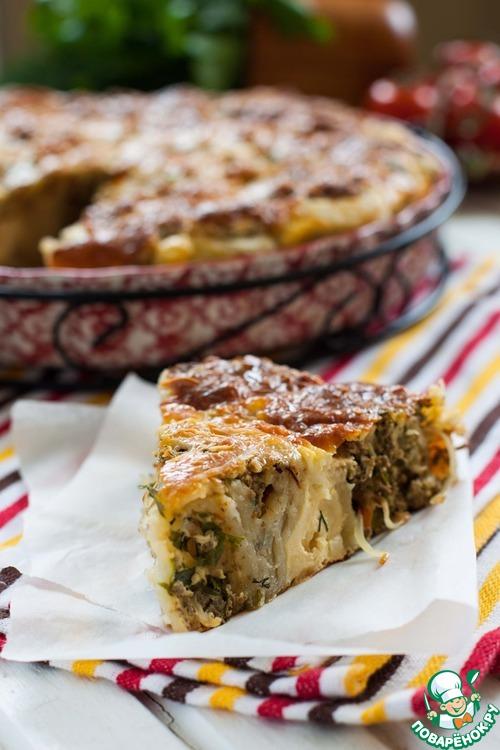 пирог с фаршем и капустой из слоеного теста