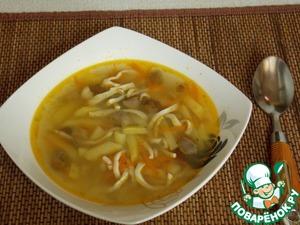Готовим Грибной суп с кальмарами домашний рецепт с фотографиями