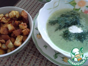 Рецепт Зеленый супчик из брокколи с солнечными гренками