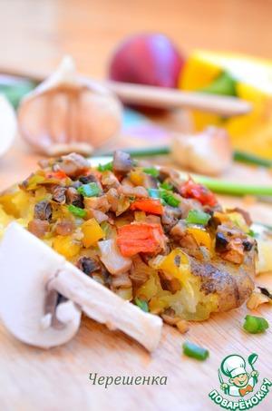 Рецепт Картофель по-деревенски с грибами и овощами. Постный рецепт
