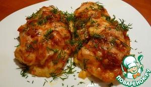 Рецепт Куриное филе с луково-томатным конфитюром под сырной корочкой