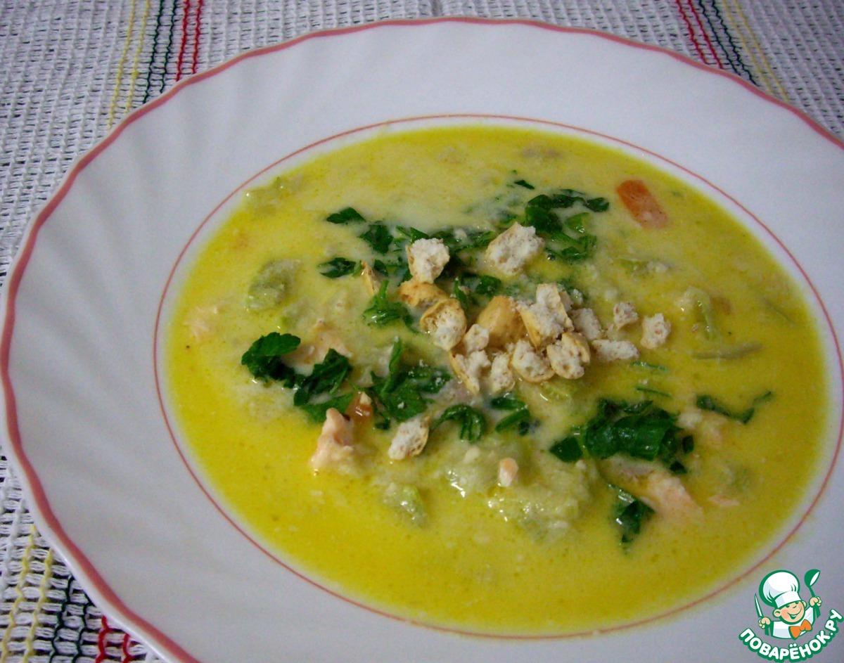 Сырный суп пюре с семгой рецепт