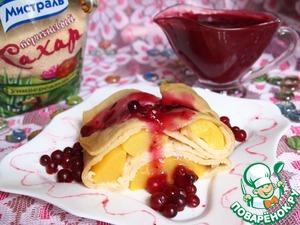 Рецепт Заварные блинчики с персиками и клюквенным соусом