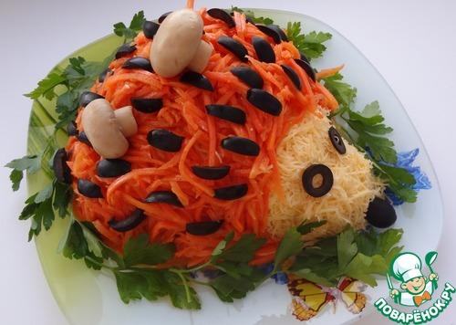 Салат ежик корейской морковью