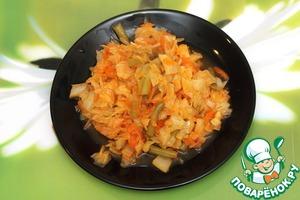 Рецепт Тушеная капуста с кабачком и стручковой фасолью
