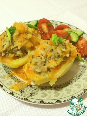 Рецепт Половинки картофеля с начинкой из мясного фарша