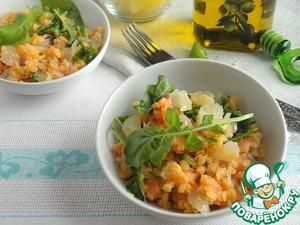 Рецепт Постный салат с семгой и чечевицей