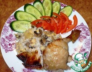 Рецепт Курица, фаршированная ананасами и грибами