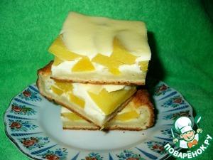 Рецепт Пирог из творожного теста с персиками