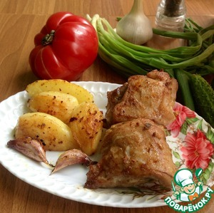 Рецепт Свиная грудинка и ребрышки, запеченные с картофелем