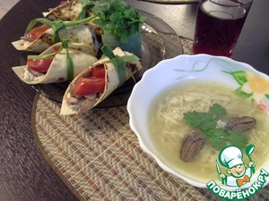 Рецепт Домашняя утиная лапша и лепешки с мясом