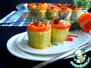 Рецепт Кабачки, фаршированные грибами и рисом