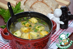 Vegetable soup with cheese balls