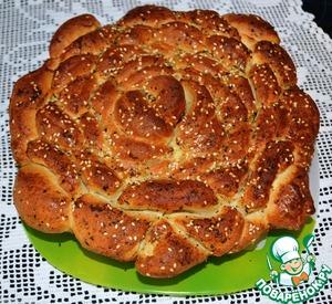 """Рецепт Турецкий чесночный хлеб """"Роза"""" с базиликом"""