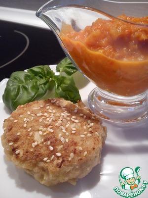 Рецепт Котлеты с жареным томатным соусом с чесноком и орегано