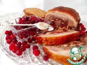 Рецепт Рулька свиная фаршированная клюквенно-луковым джемом с имбирем
