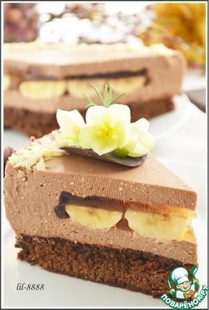 """Рецепт Торт """"шоколадно-творожный мусс с бананами в карамельном желе"""""""