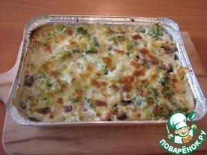 Рецепт Курица в духовке-с овощами, грибами, в сливках под сыром