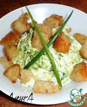 Рецепт Зеленый салат с гренками