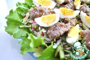Рецепт Салат из редиса и огурцов с куриной печенью