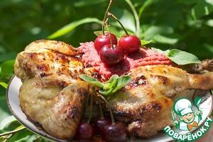 Рецепт Цыпленок-корнишон с луково-вишневым конфитюром