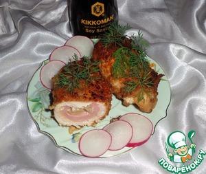 Рецепт Куриное филе, фаршированное сыром, колбасой и ананасами