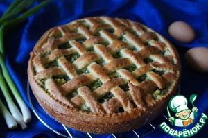 Рецепт Пирог из творожного теста с зеленым луком, грибами и яйцами