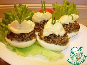 """Рецепт Фаршированные яйца """"Гурман"""" с сушеными грибами"""