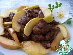 Рецепт Карамелизированная куриная печень с яблоком