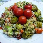 Рагу быстрое овощное с рисом в медово-соевой заправке