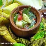 Треска с овощами и грибами в сливочно-соевом соусе