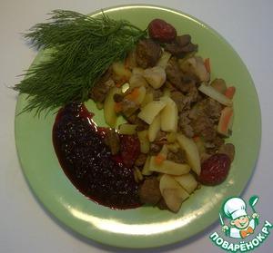 Рецепт Голень индейки, запеченная с гарниром