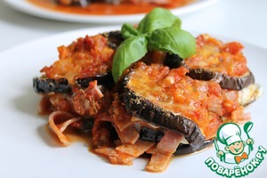 Рецепт Баклажаны, запеченные с томатным соусом, ветчиной и моцареллой