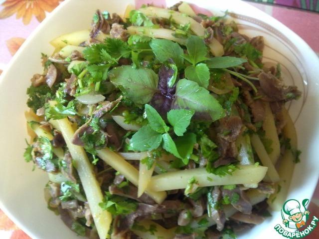 рецепты салатов из куриных желудков с фото