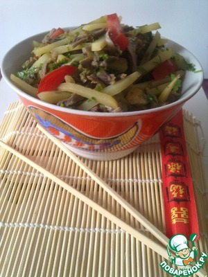 Рецепт Салат из куриных желудочков по корейски