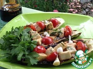 Рецепт Кабачки с сыром и овощами на мангале