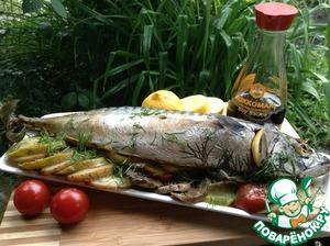 Рецепт Скумбрия с овощами на мангале
