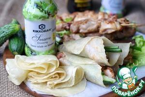Рецепт Куриный шашлык и мандаринские блинчики