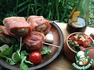Рецепт Грибы, фаршированные семгой на гриле и небольшой бонус в виде интересной закуски